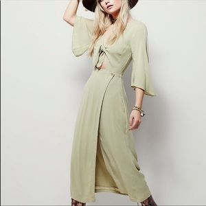 Free People Boho Chic Tie Front Dress Green Maxi M
